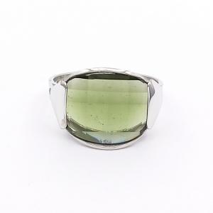 Stříbrný prsten vltavín přírodní