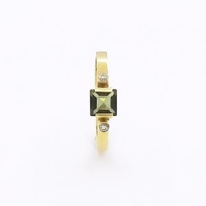 Zlatý prsten vltavín přírodní a zirkony