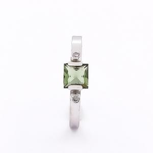 Zlatý prsten vltavín přírodní a brilianty diamanty