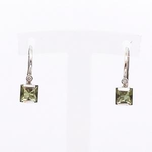 Zlaté náušnice vltavín přírodní a briliant diamant