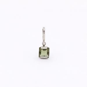 Zlatý přívěsek vltavín přírodní a briliant diamant