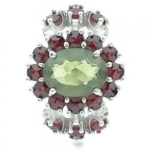 Stříbrný prsten český granát přírodní, vltavín přírodní
