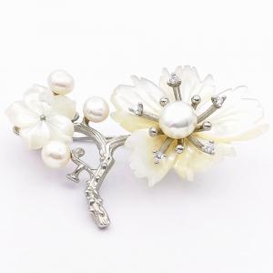 Stříbrná brož perleť, perla, zirkon