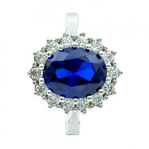 Stříbrný prsten modrý safír a zirkony