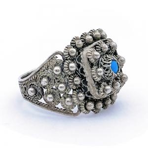 Stříbrný prsten filigrán tyrkenit