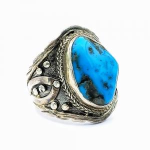 Stříbrný prsten tyrkys přírodní pravý