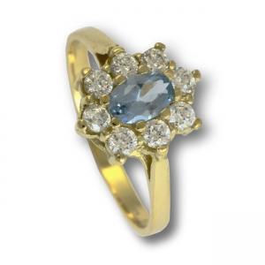 Zlatý prsten akvamarín a zirkony