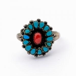 Stříbrný prsten tyrkys přírodní pravý a korál
