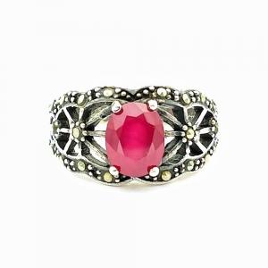 Stříbrný prsten rubín přírodní pravý a markazit