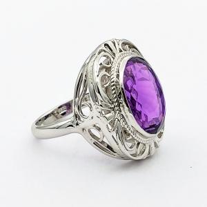 Stříbrný prsten ametyst přírodní pravý