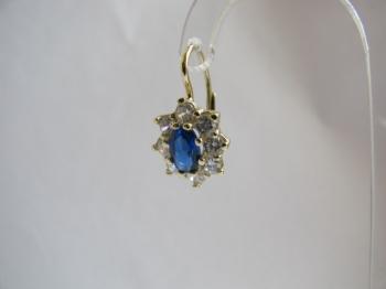 Zlaté náušnice s modrým safírem a zirkony