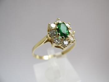 Zlatý prsten smaragd a zirkony