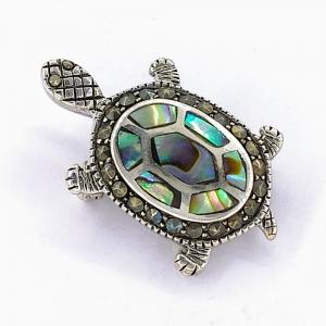 Stříbrná brož perleť paua a markazit želva