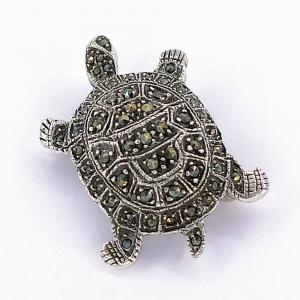 Stříbrná brož markazit želva