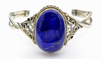 Stříbrný náramek kruh pevný lapis lazuli