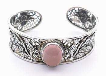 Stříbrný náramek kruh pevný růženín